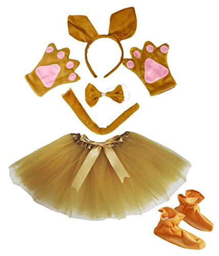 Kangaroo Headband Bowtie Tail Gloves Shoes Gold Tutu 6pc Girl Costume for Party (One ()