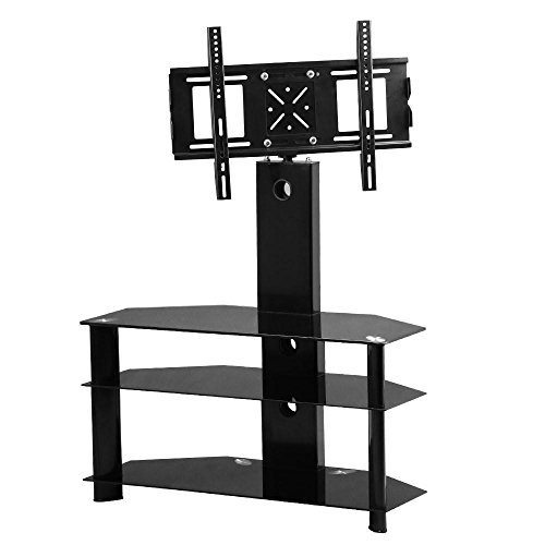 Tinkertonk 3 Tier Cantilever Black Glass Swivel Tv Stand With Wall Mount Bracket For 30 To 60 Inches Plasma Lcd/led Tv Furniture