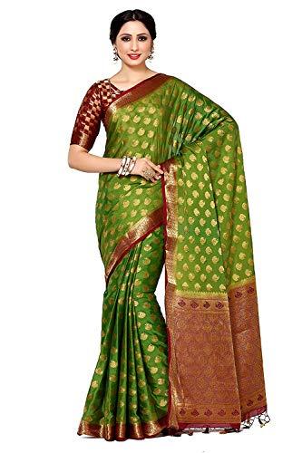 Fasherati Women's Crepe Saree(4043-239-2D-OLV-MRN_Green_Free Size) Crepe Saree