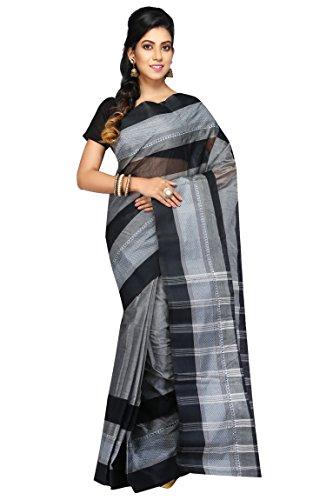 Badal Textile Handloom Cotton Tant Saree, Traditional Bengali Wear (Black & Grey)