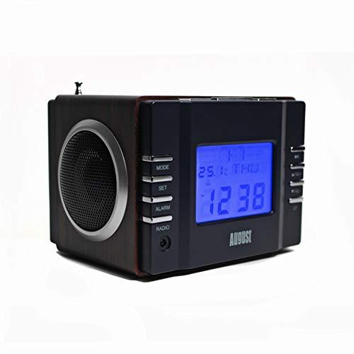 August MB300 Radio Réveil USB Numérique Matin - Poste Radio FM Haut-Parleur MP3 SD et Jack avec Batterie ou Secteur Snooze et Télécommande - Bois Marron Scandinave