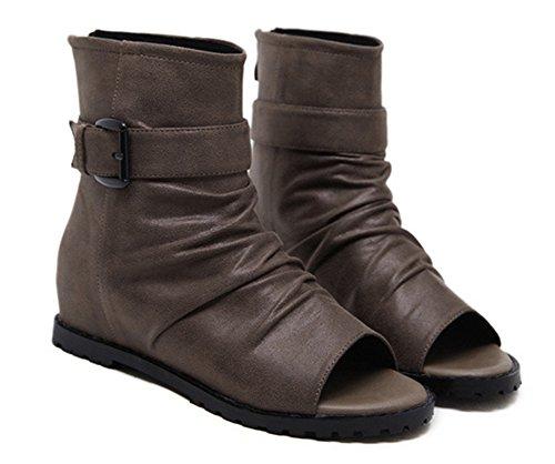 67b4d2a9b8db Mode Ouvert Boucle Bout Cuir Bottine Femme Eclair Plate Wealsex mollet Noir  Mi Casuel Chaussure Fermeture Montante AqUYOaqw