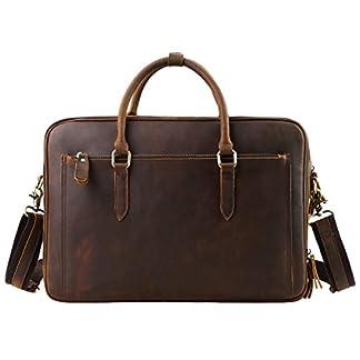 41o3qm9UNcL. SS324  - Leathario maletín Hombre de Piel autentico Bolso Mensajero Bandolera Cuero Verdadero de Caballo Loco Bolso del Hombro para señores en el Diario messeger Bag Bolso de Mano tamaño Mediano café