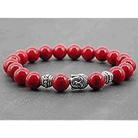 Zen braccialetto etnico per gli uomini Thurcolas con perline turchese rosso e perline Buddha argentati tibetani