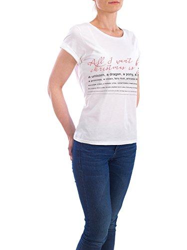 """Design T-Shirt Frauen Earth Positive """"All I Want Is You"""" - stylisches Shirt Typografie Weihnachten von Hannah Brandes Weiß"""