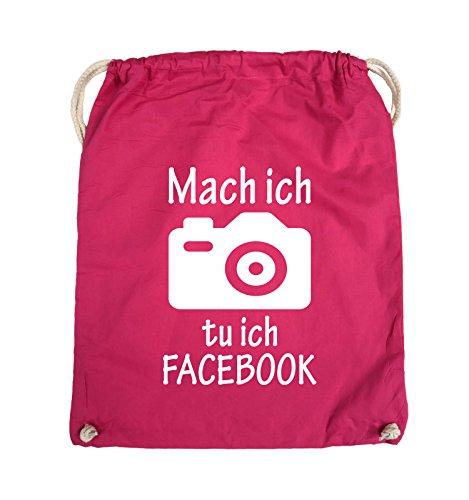 Comedy Bags - Mach Foto ich tu ich FACEBOOK - KAMERA - Turnbeutel - 37x46cm - Farbe: Schwarz / Silber Pink / Weiss