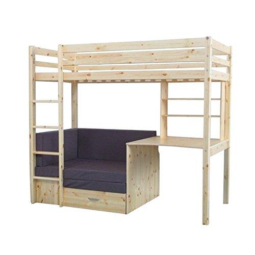 Thuka Hochbett, 90x200 Bett natur inkl. Matratze grau und Lattenrost