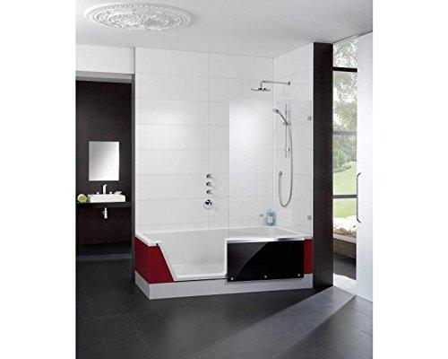 Repabad Easy-In Badewanne mit Tür und Dusche 170 cm Ausführung links Ecke rechts Front Glas Coffe mit Montage