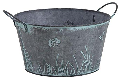 Runde Metall Vintages Shabby Planter Pot Dragonfly Schmetterlings-Entwurf Kräuter Zwiebeln -