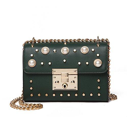 Art Und Weisefrauen-Kettenbeutel-Schulter-Kurierbeutel-Kreuzkörper-Handtaschen-Handtaschenhandtasche Vorhanden In 6 Farben. Green