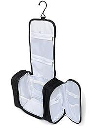 Bolsa de Aseo XL de viaje de Walden Nomad Gear Co. | Neceser hombre y mujer negro, grande, y colgante . Con gancho robusto para colgar y compartimento maquillaje extraíble para el tren, bus, avión.