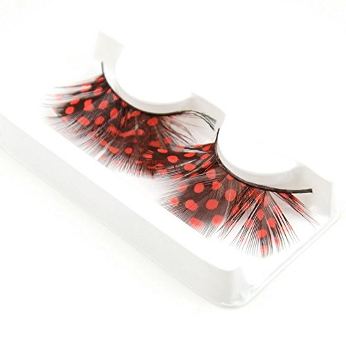 Red : Interesting® Colors Cosplay Feather False Eyelashes Party Costumes Fake Eye Lashes Makeup Tool - Deek Blue