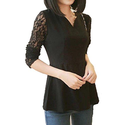 Tonsee Femmes manches longues dentelle lâche l'épissage chemisier chemise Tops Noir