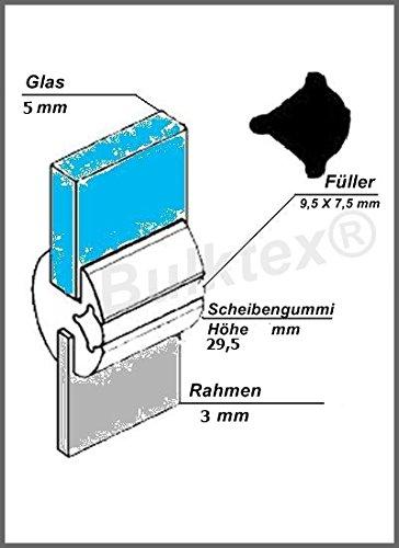 Preisvergleich Produktbild Original Bulktex® Profilgummi Fensterdichtung Vollgummi Scheibengummi 5 mm / 3 mm Höhe 29,5 mm Breite 19 mm für Oldtimer - Wohnanhänger - Camping - Wohnmobile – Traktoren – Landmaschinen - Boote – Sportboote – Yachten - Nutzfahrzeugbau – Baufahrzeuge - Auto – Kfz – Pferdeanhänger – LKW - Traktoren – Pferdeboxen – Fahrzeugbau - usw...