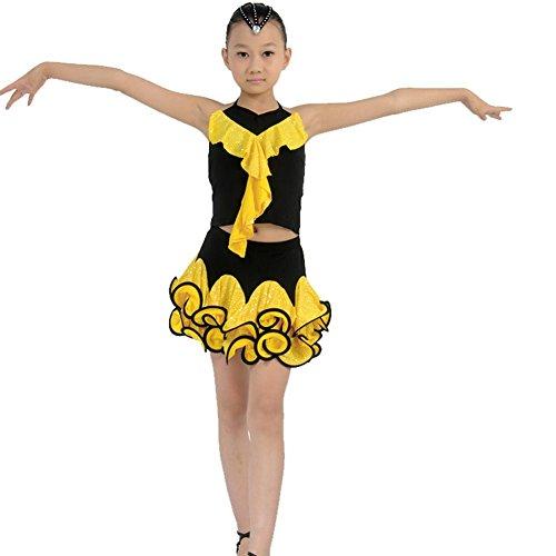 Wgwioo Kinder Latin Dance Kostüme Teen Girls Wear Kinder Bühne Aufführungen Kleider Jugend Komfort Studenten Gruppe Praxis Kleidung, Yellow, - Teen Dance Kostüm