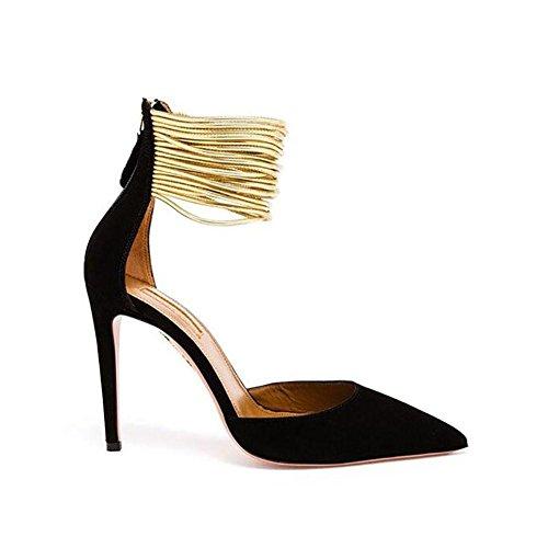 Été Automne en cuir véritable des femmes Loisirs Mode Pointu Matte Métal décoratif Thin Shallow Mouth chaussures à talons hauts 39