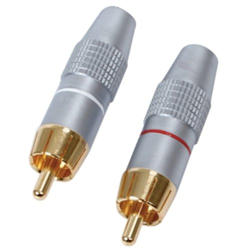 Hq S-SCC002/B RCA Plug 24K Gold Plated and Shielded, Argento/Oro