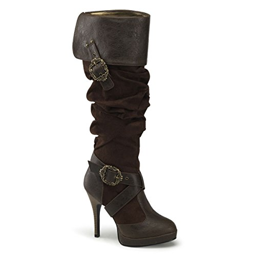 CARRIBEAN-216 - 4 1/2' Heel, 1/2' P/F Cuffed Knee Boot W/ Octopus Buckles, EU:41/42 (US-11)