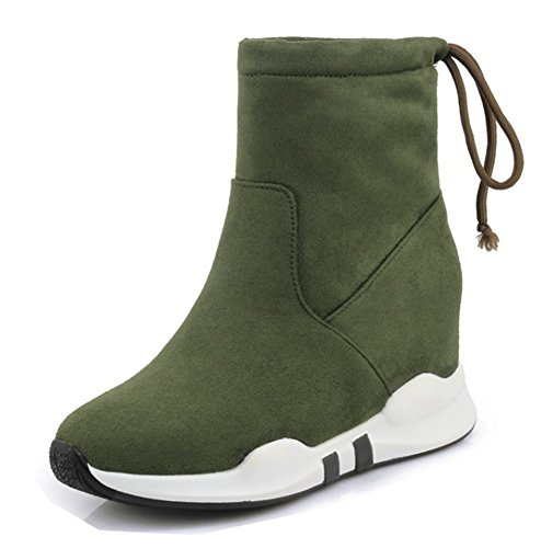 Aisun Femme Confort Talon Compensé Sport Simple Bottines Vert