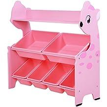 SONGMICS Estantería para juguetes en forma de animal con 6 Cajas y 1 estante Estantería infantil para guardar juguetes libros y ropa (rosa)