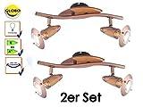 2er Set Deckenleuchten / Deckenstrahler LORD Kupfer mit Holz, schwenkbar, Globo Lighting