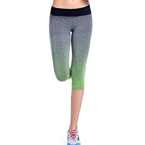 Culater® Femmes Sport Yoga Jeans/Pantalons élastiques de Compression Collants Fitness Pantalon en cours d'exécution Vert