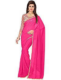 Roop Sangam Women's Chiffon Saree With Blouse Piece (Qey2, Pink, Free Size)