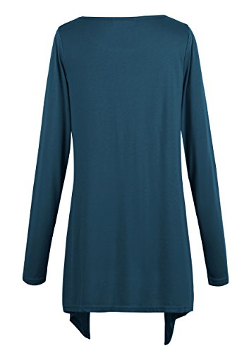 Damen T-Shirt Tunika Langarmkleid Stretch Basic Shirt Top Ink Blue