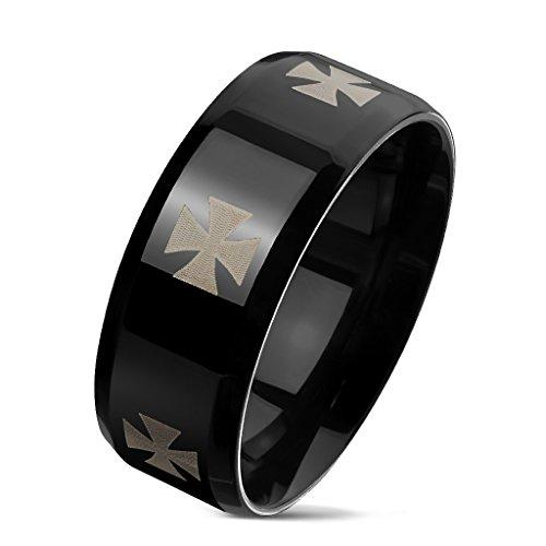 Autiga Herrenring Edelstahl Ring Herren Eisernes Kreuz Iron Cross Schwarz schwarz 70 - Ø 22,20 mm -