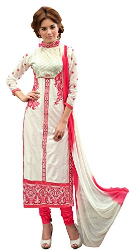 Kimisha White Cotton Embroidered Party wear churidar Dress Material
