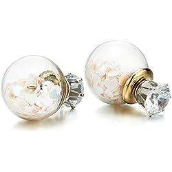 Zirconio Cúbico Bulbo Botella de Vidrio con Coraz, Pendientes de Mujer Niñas, Acero Inoxidable, 2 Piezas