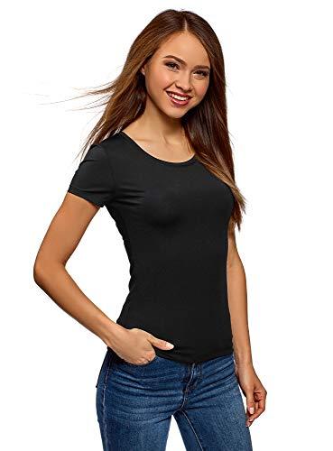 oodji Ultra Damen T-Shirt Basic mit Rundem Ausschnitt, Schwarz, DE 36 / EU 38 / S