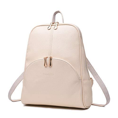 Nevenka Zaino Donna Borsa a Spalla in Pelle PU Zainetto Casual Borsa a Mano Backpack alla Moda per Shopping Scuola Viaggio Vacanza (beige)