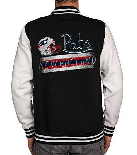 Shirtdepartment - Herren College Jacke - Pats - New England schwarz-rot XXXL