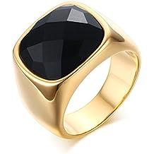 Vnox 16 millimetri Uomo antico acciaio inossidabile oro 18k Black Opal pietra preziosa banda anello per aggancio di anniversario