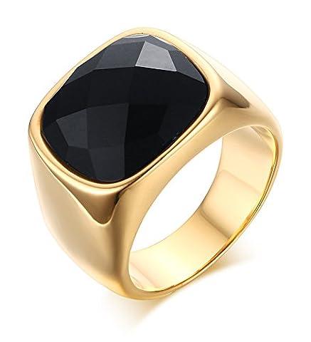 Vnox Antike Männer 16mm Edelstahl 18k Gold überzogener schwarzer Opalachat Edelstein Band Ring für Jahrestags (3 Anello Di Pietra Solido)