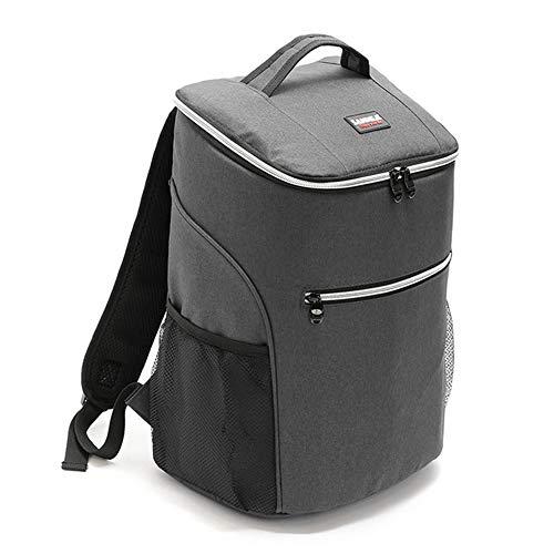 ZLI 20L Kühltasche Thermo, 600D Oxford Lunch Picknick Box isoliert kühlen Rucksack Eisbeutel frische Träger thermische Umhängetaschen für den Außenbereich, Picknick Camping, Strand,Gray