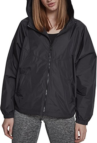 Urban Classics Damen Jacke Ladies Oversize Windbreaker, Schwarz (Black 00007), Large (Herstellergröße: L) (Zip Nylon Windbreaker Full)