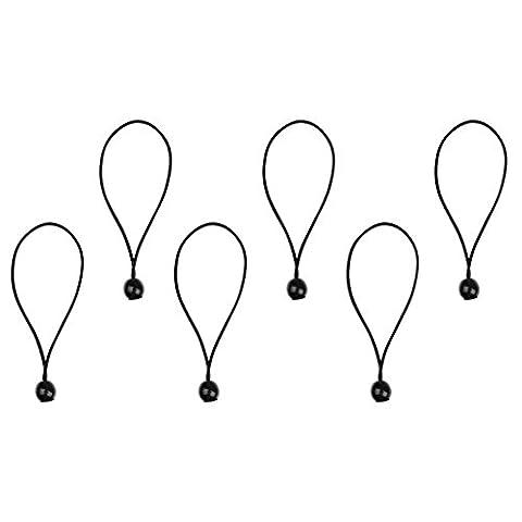 Gazechimp 6 Stück Spanngummis mit Kugel 15cm Zeltgummis Spanngummi Planenspanner Gummispanner Zelt Zubehör - Schwarz