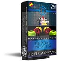 FumandoEspero Hierbas Premium Delta para shisha SIN NICOTINA - Sabor: Tres Manzanas (50 gr) - Sustitutivo de tabaco sin nicotina
