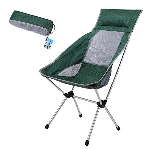 yahill® Ultraligero plegable silla de camping plegable compacto y portátil con bolsa...