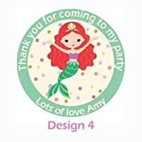 Treasured Forever 24 x Personalised Mermaid Birthday Stickers For Party Thank You Sweet Cone Bags