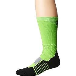 Calcetines de baloncesto para hombre Under Armour Drive, un par, Large, negro, verde (Hyper Green/Black)