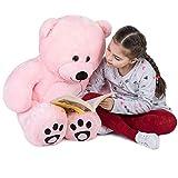 VERCART Riesen Teddybär Groß Stofftier Plüschtier Kuscheltier Rosa 3 Feet