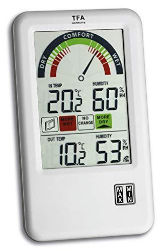 TFA Dostmann Bel-Air Funk-Thermo-Hygrometer, 30.3045.IT, mit Lüftungsempfehlung Komfortzonenanzeige, zur Raumklimakontrolle