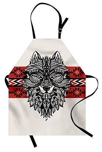 Abakuhaus lupo grembuıle da cucına, volto animale stile tatuaggio, a prova di macchia e impermeabile per uso esterno, rosso crema nero