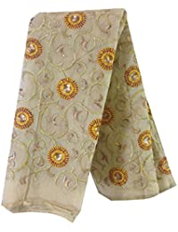 Kurti Material Blouse Fabric Cream chanderi, yellow gold embroidery, blouse yoke unstitched