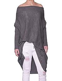 Mikos Damen Pullover Modischer Longsleeve Schulterfreies Oversize Pulli  Pullover Strick Tunika Kleid Longshirt SM L 36 97885f2568