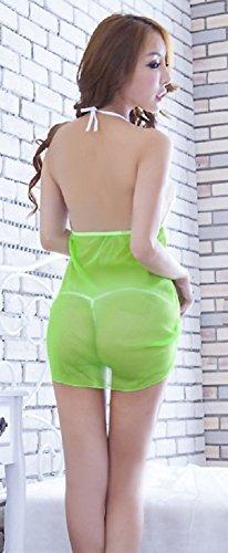 Shangrui Femmes Transparent Sous-vêtements de Dentelle Mignon Multicolore Sling Racy Jupe YF038 Vert