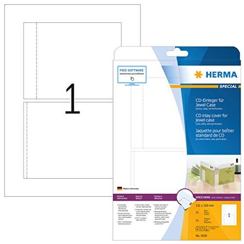 Herma 5036 CD DVD Einleger für Jewel Case Hüllen (151 x 118 mm) weiß, 25 Stück, 25 Blatt DIN A4 Karton, bedruckbar, nicht klebend, perforiert (Bedruckbare Karton)